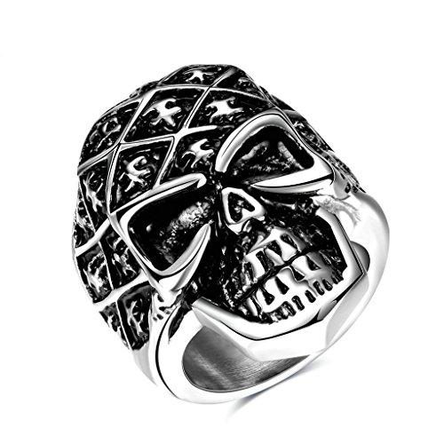 Epinki Fashion Jewellry Stainless Steel Mens Ring Punk Devil Skull Retro Silver Size 7
