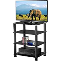 Tempered Glass TV Stand Rack Unit Shelf For AV Game Console Audio System Hi-Fi Equipment | Black