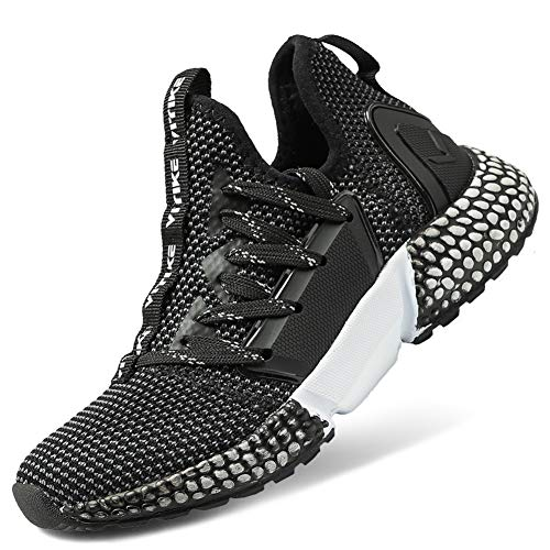 (WETIKE Kids Shoes Boys Girls Sneakers Wrestling Tennis Shoes Lightweight Sports Shoes Slip On Running Walking School Casual Trainer Shoes Knit Mesh Black Size 4)