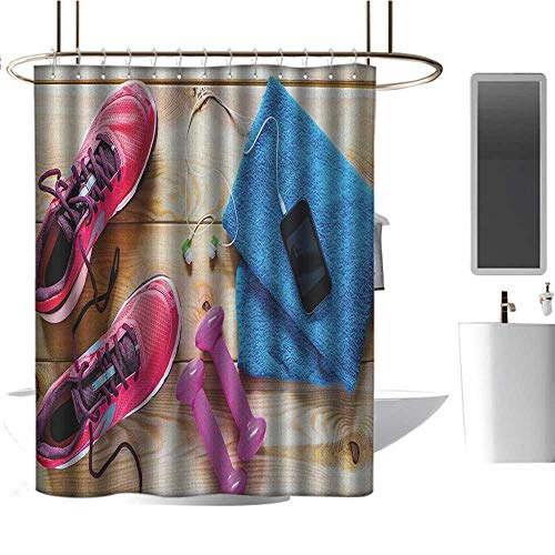 Qenuan Shower Curtain Fitness,Gymnasium Theme Womens Running Shoes and Dumbbells Equipment for Training Image, Multicolor,Clear Metal Thick Bathroom Shower Curtains 47