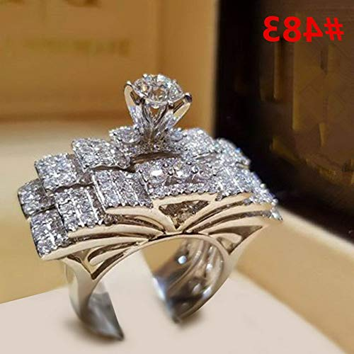 (Endicot Women Engagement Wedding Ring Crystal Rhinestone White Gold Plated Rings Jewelry | Model RNG - 5069 | 5)