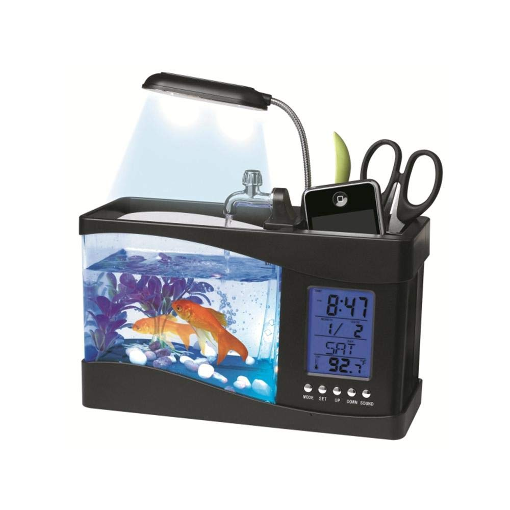 Black TEEPAO Desktop Aquarium Kit, USB Fish Tank with LED Lights, Filter Sponge, Water Pump, LCD Display and Multi-Function Pen Holder, Glo-Fish Aquarium, Black