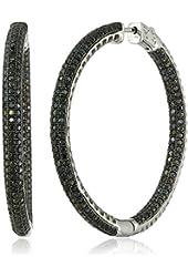 """Sterling Silver Black Spinel Round Hoop Earrings, 2"""""""