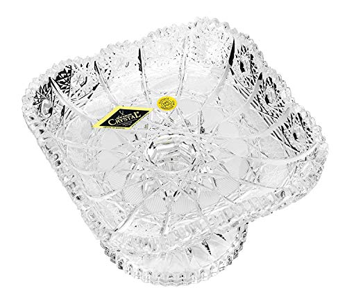(Czech Bohemian Crystal Glass Footed Plate 5