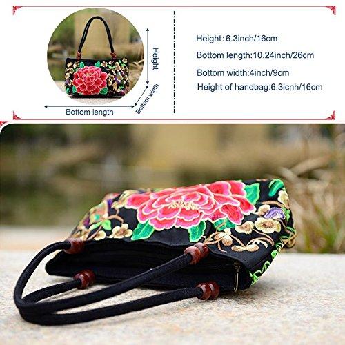 a ricamo fronte China etnico tela donne mano ricamato Alftek fiore Trend borsetta National borse di nRcv1fxtW