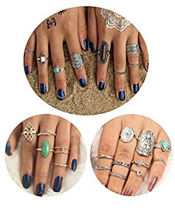 LOYALLOOK 31Pcs Knuckle Stackable Rings for Women Midi Rings for Women Boho Rings Set for Teen Girls