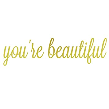 You Are Beautiful Mirror Quote Decal Vinyl Wall Quotes Decals Bathroom Wall  Sticker Home Decor(