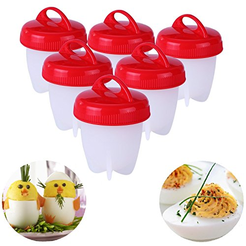 Egglettes Egg Cooker  Hard amp Soft Egg Maker with Egglettes Recipes 6 Pcs Poached Boiled Eggs Steamer AS SEEN ON TV BPA Free Non Stick Silicone Hard Boiled Eggs without the Shell