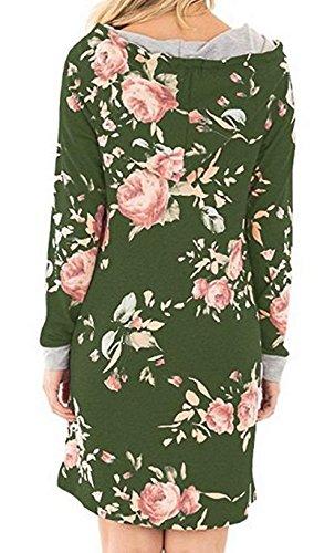 Maniche Floreale Casuale Donne La Cappuccio Lunghe Jaycargogo Vestito A Con Maglietta Stampa Verde Iw0OnSqvxq