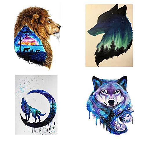 Avton DIY 5D 4 Pcs Handmade Diamond Painting Full Diamond Embroidered Cross Stitch Home Wall Decoration Gifts Crafts Painted Avatar Aurora Wolf Lion Set (30x40cm/12x16in)