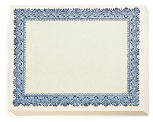 Attendance Award Seal - Traditional Blue Standard Parchment Certificates, 100 Count Blank, Blue Enhancements on White 28 lb. Parchment Paper, 8.5 x 11 Inches, Laser and Inkjet Compatible