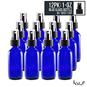 12 Pack- 1 Oz - Cobalt Blue Boston Round Glass Bottle With Fine Mist Spray Nozzle (30 ML) - For Hydrosol, Cosmetics, Perfume, Kitchen, Medicine, Cooking, Travel, Beauty. Re-Usable -By Katzco