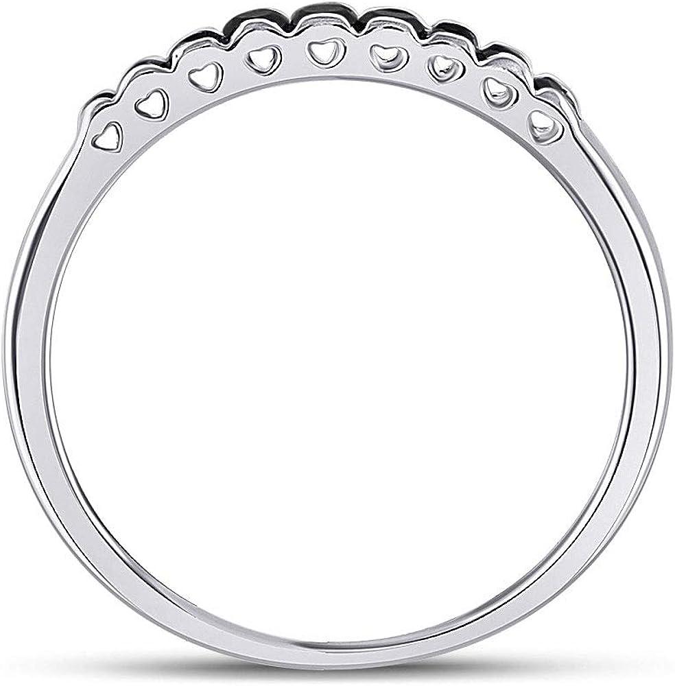 10kt White Gold Womens Princess Black Color Enhanced Diamond Band Ring 1//4 Cttw