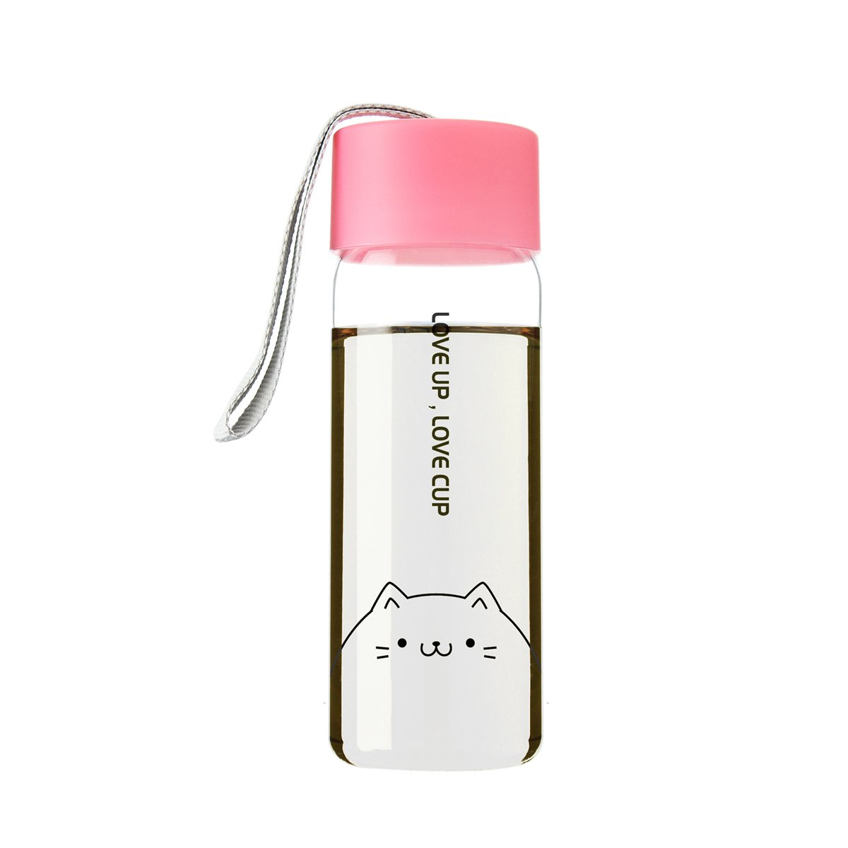 UPSTYLE Eco-friendly Healthy Plastic Scale Design Transparent Sports Water Bottle Direct Drinking Water Cup with Colorful Lid for Tea, Coffee, Milk or Juice Size 300 ml, Pink Cat COMIN18JU066671