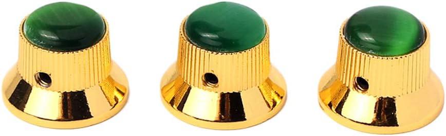 HEALLILY 3pcs Perillas de amplificador de guitarra Tiradores de metal a presión con tapa verde para bajo de guitarra eléctrica (oro verde) GD206