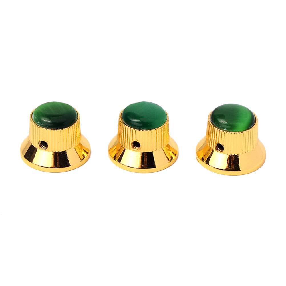 SUPVOX 3pcs Perillas de Oro para Amplificador de Guitarra Empuje los Botones con Tapa Verde para bajo de Guitarra el/éctrica