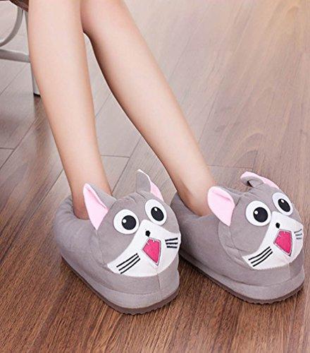 YOUJIA Zapatillas de casa Invierno Animales Zapatos de Divertidas Antideslizante para Niños y Adulto Gato