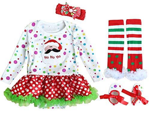 FANCYINN Baby Girls My First Christmas Outfit Costume Tutu Dress Rompers 4Pcs Set Ho Ho Ho - Santa 0-3 Months