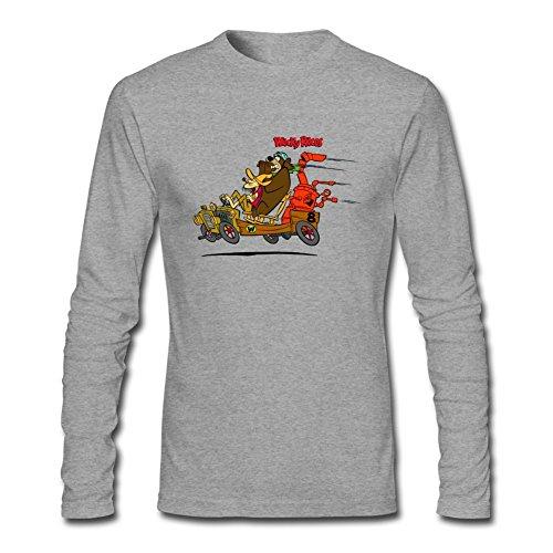 SLJD Men's Wacky Races Cartoon Design Long Sleeve Cotton