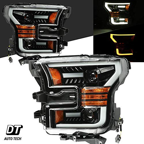 Headlamps Assembly LED Sequential Switchback Turn Signal+DRL For 2015-2017 Ford F-150 F150 (Black Projector+Sequential Turn Signal) ()