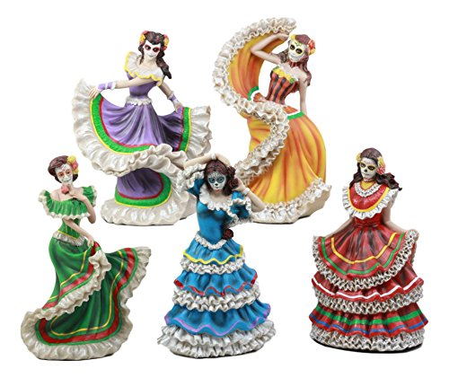 Ebros Set of 5 Day of The Dead Colorful Gowns Traditional Dancer Statues Sugar Skull Vivas Calacas Dia De Los Muertos Costume Parade Dancers Figurine -