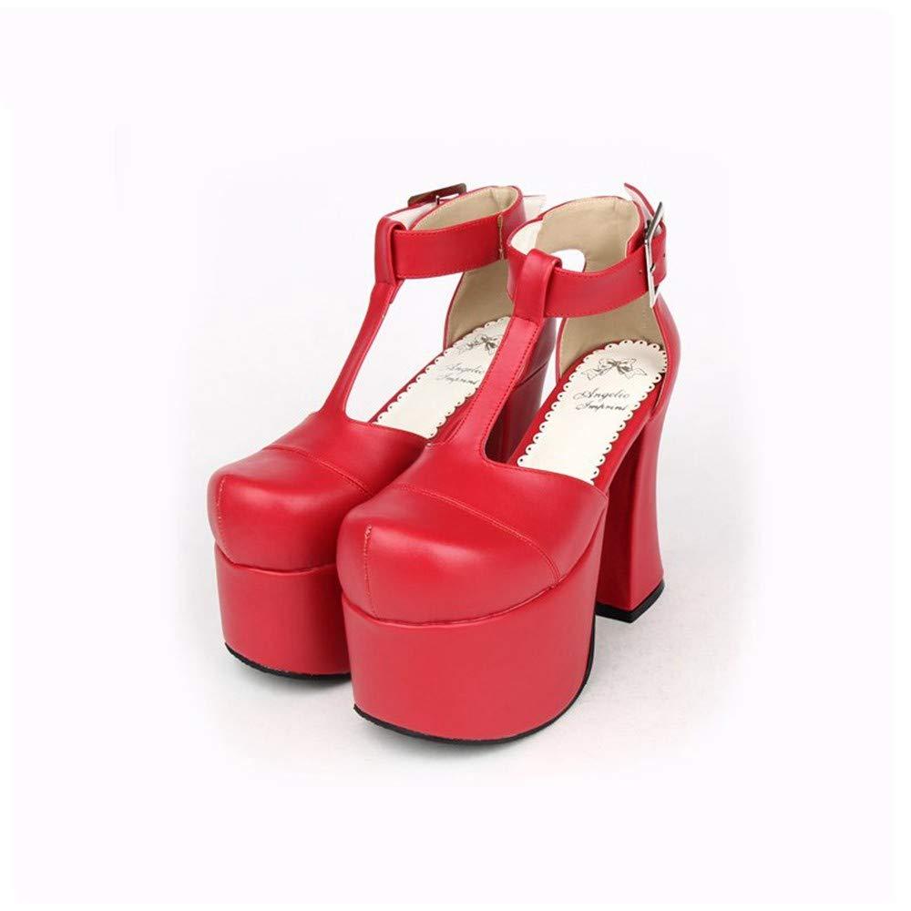 PINGXIANNV PINGXIANNV PINGXIANNV Lolita Stil Lolita Schuhe T-Typ-Single-Gürtel Super High Heel Gothic Queen Schuhe 3e504b