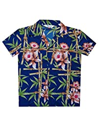 Hawaiian Shirts Boys Pineapple Leaf Beach Aloha Casual Holiday Camp Short Sleeve