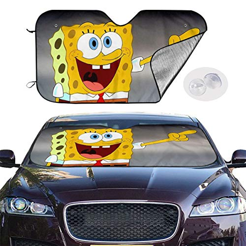 Car Windshield Sun Shade Blocks UV Rays Sun Visor Protector - Spongebob Laughing Sunshade to Keep Your Vehicle Cool