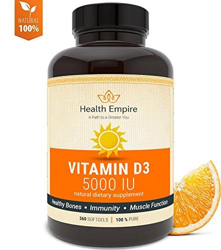 Vitamin D3-5000 IU - Organic Supplement - Non-GMO - USDA Certified - 360 Softgels - Order Risk Free!
