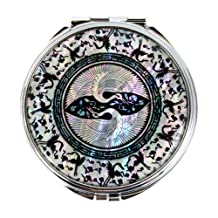 Mother of Pearl Crane Design Double Compact Magnifying Cosmetic Makeup Handbag Pocket Purse Mirror