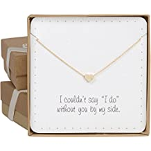 "Bridesmaid Gifts - Cute & Dainty Floating Heart Necklace (24k Gold Plated, 16"" + 2"" Extender)"