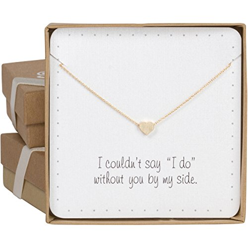 BRIDE DAZZLE Bridesmaid Gifts - Cute & Dainty Floating Heart Necklace (24k Gold Plated, 16