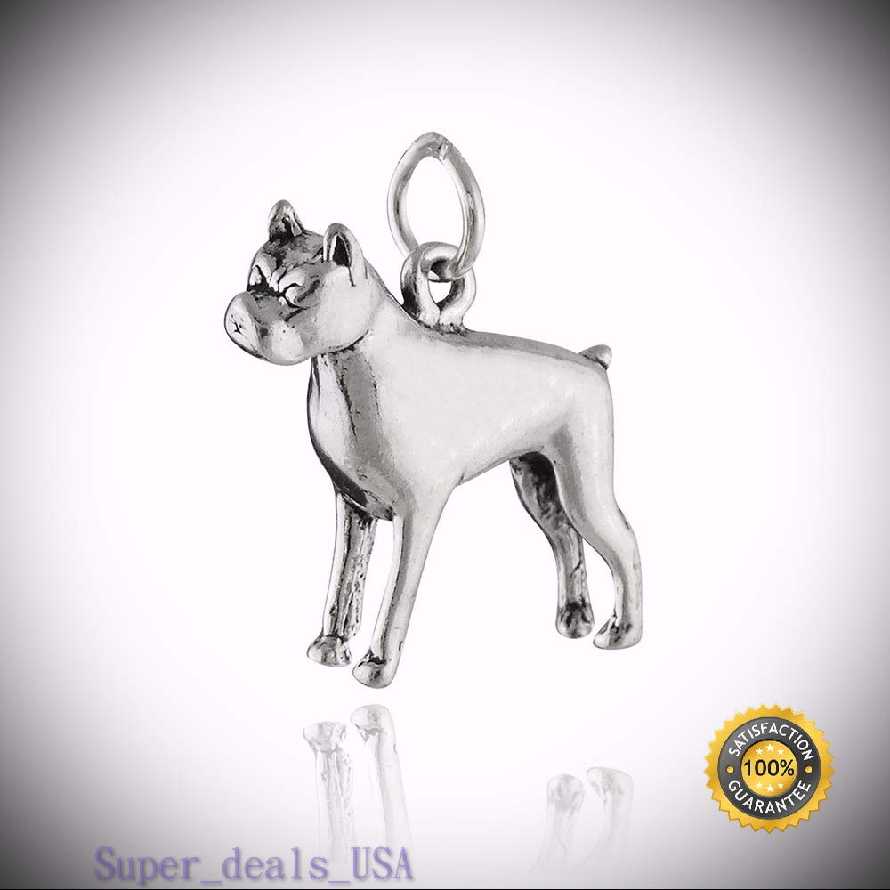 Boxer Dog Charm - 925 Sterling Silver - Puppy Large Breed Pet Dogs Pendant New DIY Handmade Ornament Crafts by Super_deals_USA