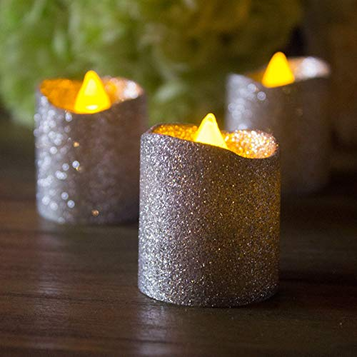 Christmas Votive Candles,Silver Glitter Flameless Candles,