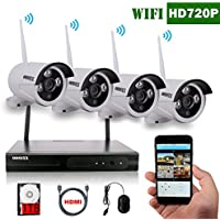 OOSSXX 4CH 1080P HD Wireless Video Security Camera System,4PCS 720P Megapixel Wireless Weatherproof Bullet IP Cameras,Plug and Play,70FT Night Vision,P2P,App, HDMI Cord&1TB HDD Pre-install