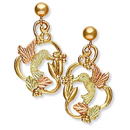 Hand-Engraved Hummingbird Earrings, 10k Yellow Gold, 12k Green and Rose Gold Black Hills Gold Motif (10k Engraved Earrings)