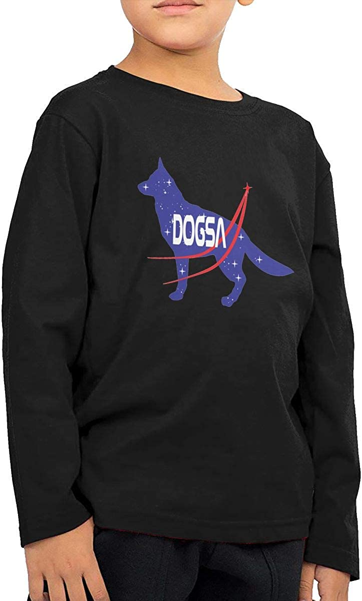 Space and Dog Childrens Long Sleeve T-Shirt Boys Cotton Tee Tops