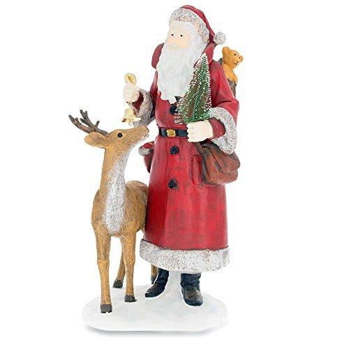 (BestPysanky Reindeer with Santa Holding Christmas Tree 12 Inches Figurine)