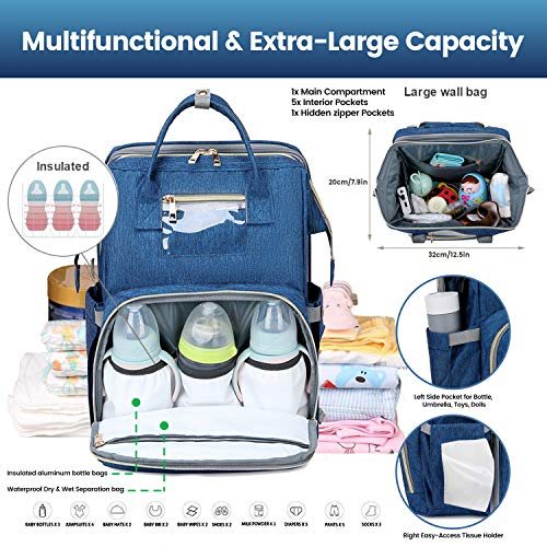 3 in 1 Diaper Bag with USB Charging Port Waterproof Backpack Travel Bassinet with Shading Cloth Baby Changing Station Portable Crib (Blue)