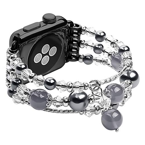 Tomazon Apple Watch Band, Fashion Handmade Elastic Stretch Faux Pearl Bracelet Replacement Women Girls iWatch Bands Strap for Apple Watch Series 3/2 / 1 38mm - Gray