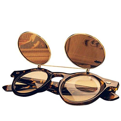 FUNOC Vintage 50s Unisex Sunglasses Steampunk Flip Up Cyber Round Goggles - Glasses Dwayne Wayne