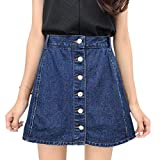 Harmily Women Button Denim Skirt High Waist Anti Emptied Summer Mini Jeans Skirt