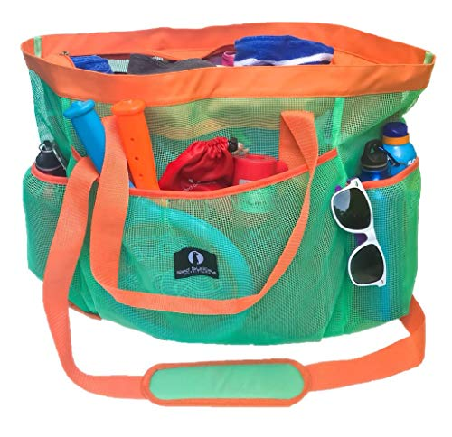 Red Suricata Large Mesh Beach Bag - Tote with Zippered Top - Toy Bag with Water Resistant Inside Pocket & 7 Large Elastic Outside Pockets - Lightweight Market, Grocery & Picnic Tote (Turquoise/Orange) by Red Suricata