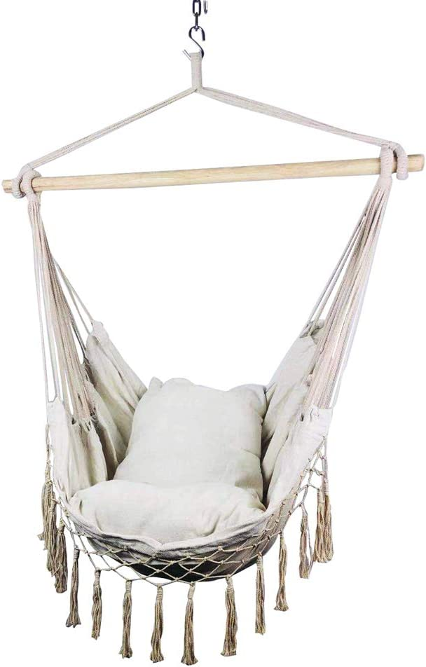 Hi Suyi Macrame Lounging Hanging Rope Hammock Chair Porch Swing Seat For Indoor Or Outdoor Garden Patio Yard Bedroom With Cushion And Wooden Bar Amazon Co Uk Garden Outdoors