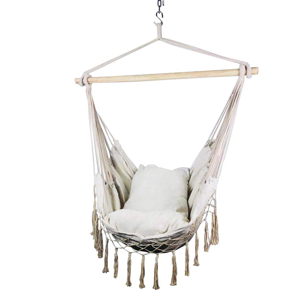 Hi Suyi Macrame Lounging Hanging Rope Hammock Chair Porch Swing Seat for Indoor or Outdoor Garden Patio Yard Bedroom with Cushion and Wooden Bar