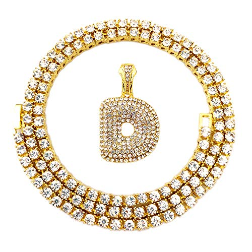 HH Bling Empire Iced Out Hip Hop Gold Faux Diamond Bubble Dripping Letter Tennis Chain Necklace 20 Inch (Bubble Letter D) ()