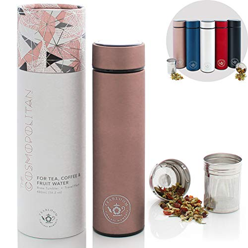 Teabloom All-Purpose Beverage Flask / 16 oz. / Brushed Metal Insulated Water Bottle/Tea Tumbler/Travel Bottle/Cold Brew Coffee Mug/Extra-Fine Two-Way Infuser/Rose Gold