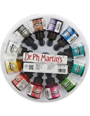 Dr. Ph. Martin's Bombay India Ink (Set 1) Ink Set, 1.0 oz, Set 1 Colors, 1 Set of 12 Bottles