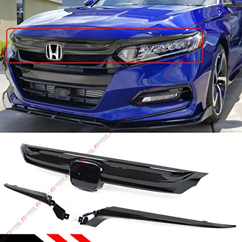 Fits for 2018-2019 10th Gen Honda Accord Sedan Glossy Black Sport Style Replacement Front Grille Base With Accent Garnish