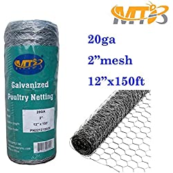 "Galvanized Hexagonal Poultry Netting,Chicken Wire 12""x150'- 2"" 20GA (also sold in 25' / 50' length)"